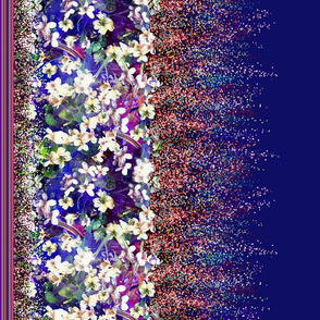 WHITE VIOLETS DOUBLE BORDER PRINT FEAST OF BLOSSOM Night Blue