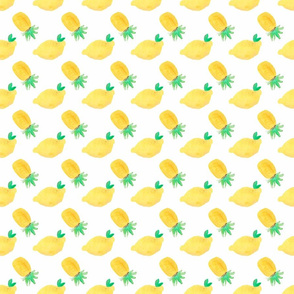 Lemons and Pineapples on white - Tropical Fruit