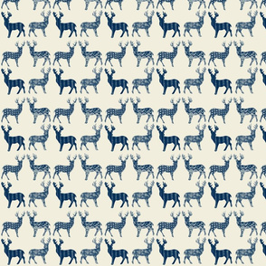 Navy Blue Meadow Deer on Ivory