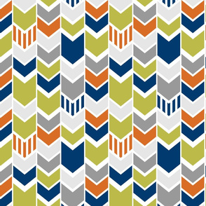 Green Navy Orange custom chevron