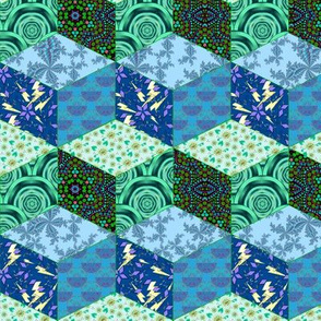 Blue and Green Tumbling Blocks