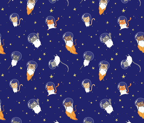 Space cats large fabric pigandpumpkin spoonflower for Space photo fabric
