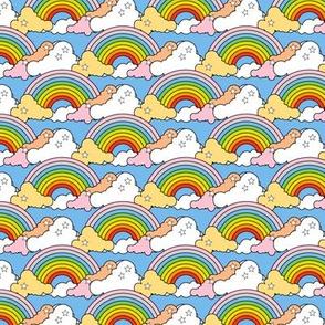 Rainbow to the Max (Light Blue) || rainbow clouds stars 80s retro pop art pride children kids baby nursery
