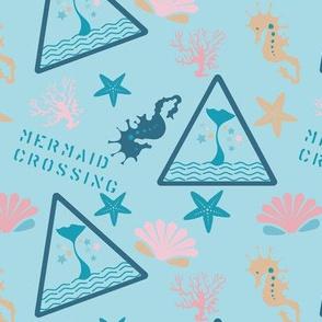 Mermaid Crossing in Skye Blue