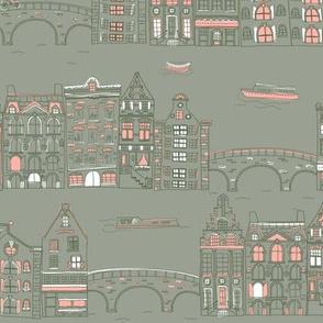 Amsterdam Canal Buildings: Grey