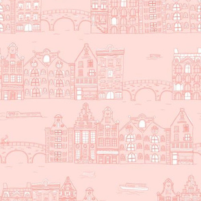 Amsterdam Canal Buildings: Pink