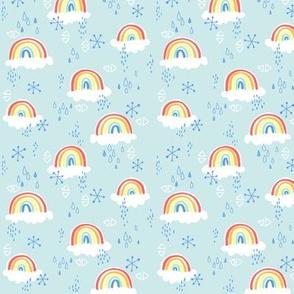 rainbows on blue - small
