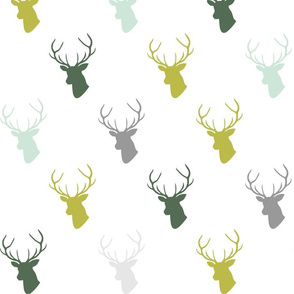 green mint olive gray deer