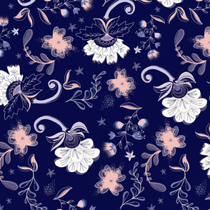 modern large scale floral: Indigo & Coral