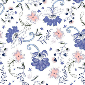 Large Scale Modern Floral: White, Blue & Coral