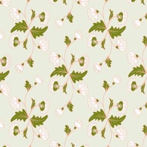 Floral Stripe: Light Green