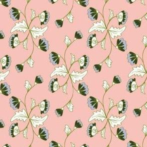 Floral Stripe: Coral