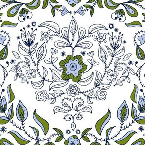 Large Scale print. Dutch Floral Heart: White & Blue