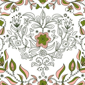 Large scale print- Dutch Floral Heart: white & Green