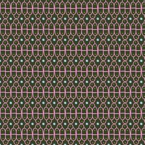 Hand Drawn Scallops: Dark Green & Pink lines