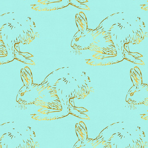 Golden Bunnies on Aqua