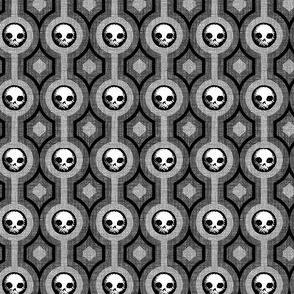 Geo Skulls Stripe - charcoal