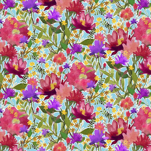 Watercolor Rose Garden Pattern