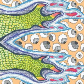 Claw and Eyeball Fabric (ORANGE)