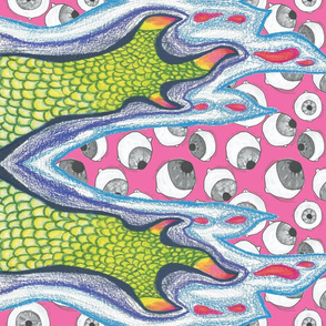 Claw and Eyeball Fabric (PINK)