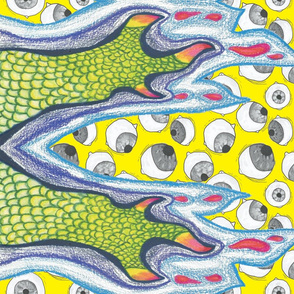 Claw and Eyeball Fabric (YELLOW)