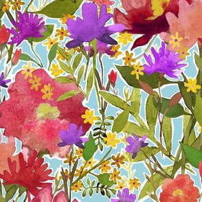 Rose Garden Watercolor Flower Pattern