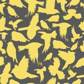 flock in lemon and grey