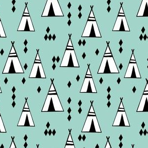 Teepees - Pale Turquoise (Small version) by Andrea Lauren