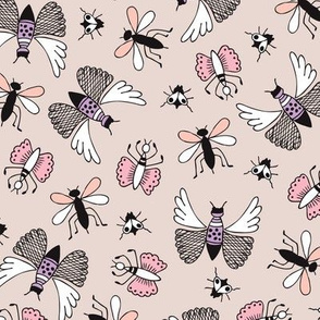 Quirky butterfly insects bugs flies and mosquito illustration whimsical garden