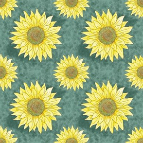 A lot of sunflowers_green/yellow