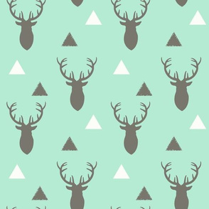 Gray and Mint Deer & Triangles Rotated