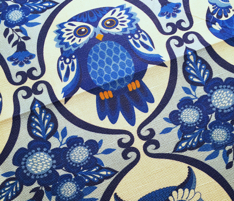 Delft Blue and White Owls