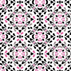 Black and Pink Diamond Tile