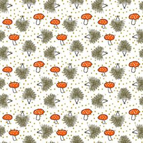 Hedgehog Mushroom Scatter Smaller Print