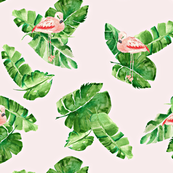 Banana Leaves And Flamingos