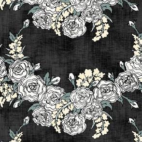Black & White Rose Chevrons