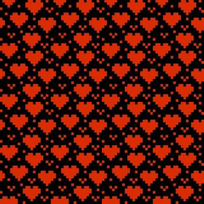 Red Pixel Hearts on Black