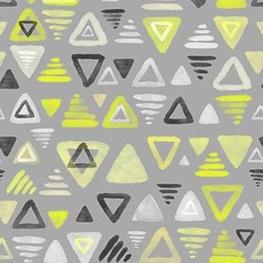 Summer Yellow Watercolor Triangles on Grey