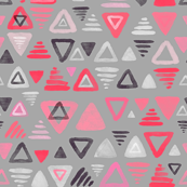Summer Melon Hot Pink Triangles on Grey