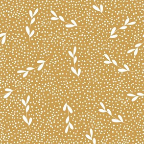 gold leaf branches dots leaves leaf pattern