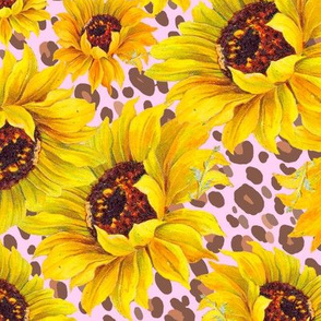 scattered sunflowers on pink leopard