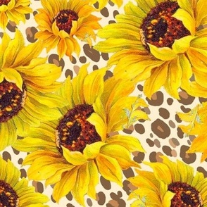 sunflower shower on sand leopard