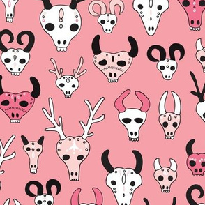 Skulls reindeer moose goat and other animals western hunt theme for creepy fashion and halloween coral pink