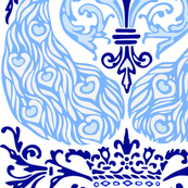 Peacock Damask - Blue