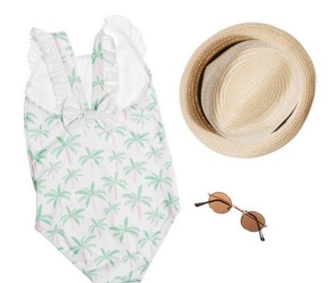 Summer palm tree beach coconut pastel bikini tropics illustration print in mint