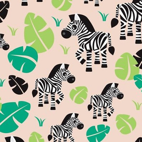 Tropical zebra horse safari illustration print for kids