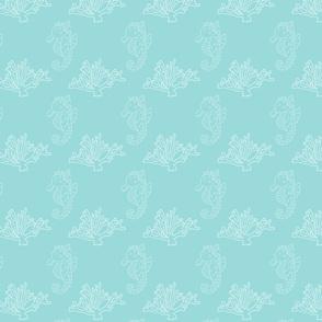 Aqua Coral and Seahorse