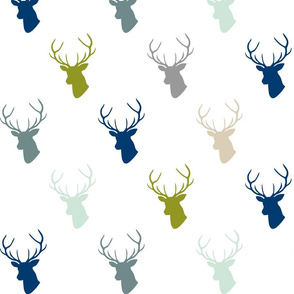 Navy Gray Green Deer