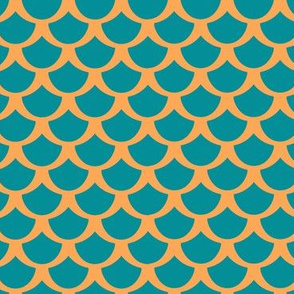 Fish Scales in Orange & Blue