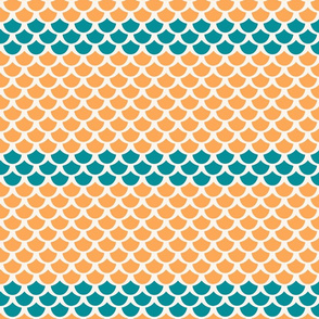 Fish Scales in Orange & White with Blue for Mermaids